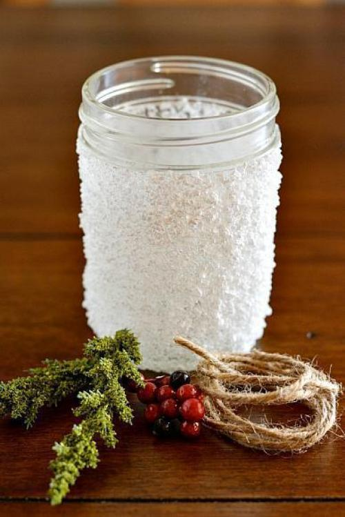 подсвечники из банок и соли своими руками