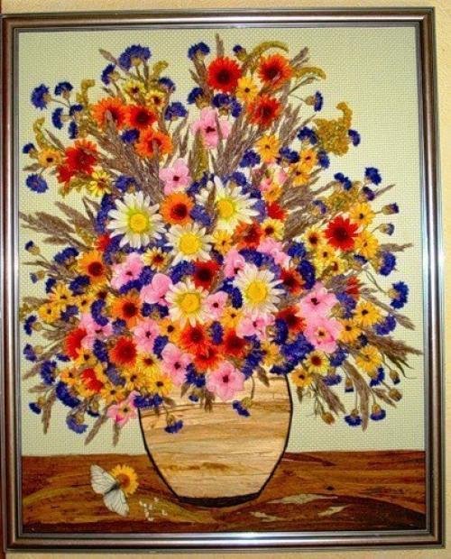 Картины из сухих цветов фото своими руками
