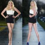 Самые длинные ноги у модели.